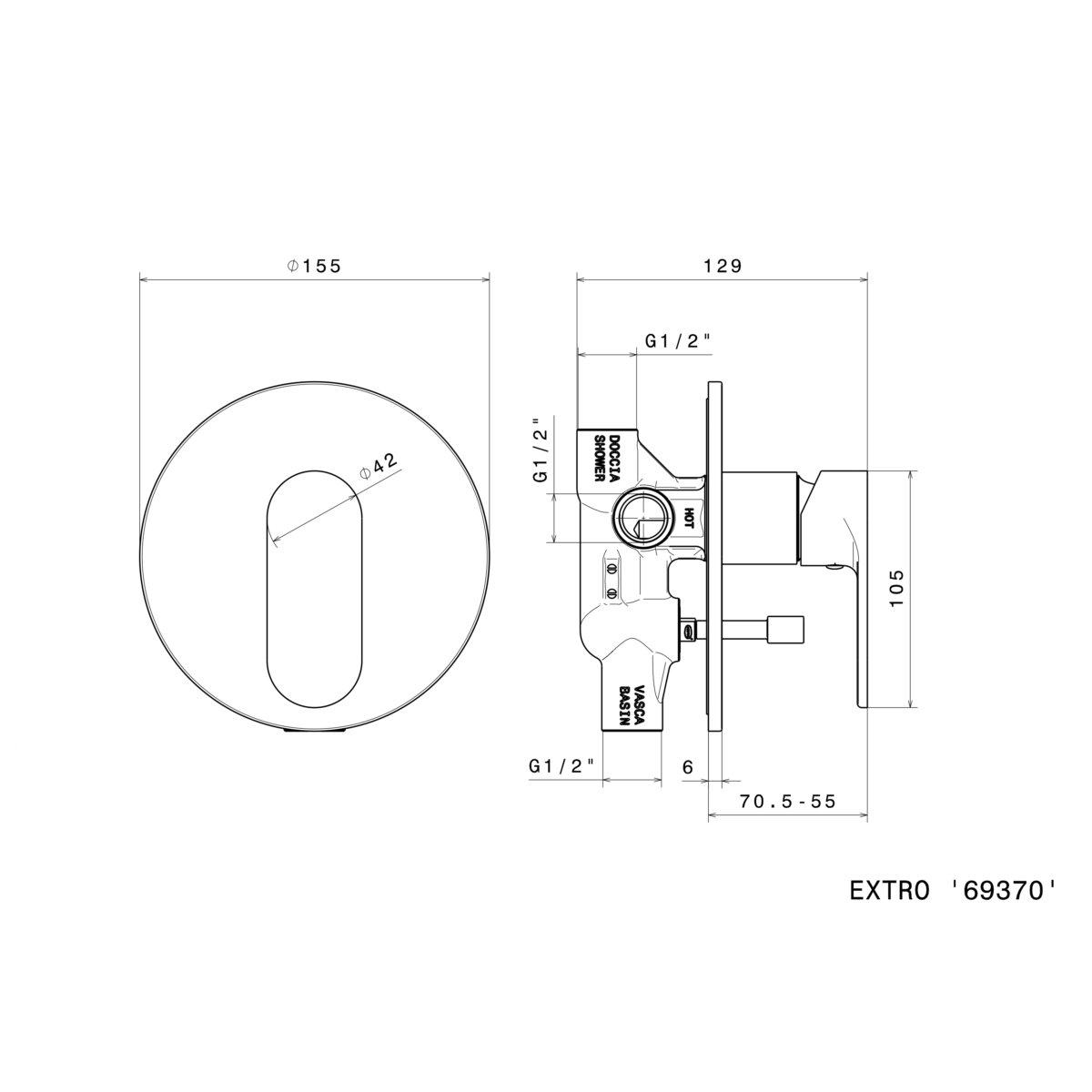 Newform Extro diverter mixer 69370_Stiles_TechDrawing_Image