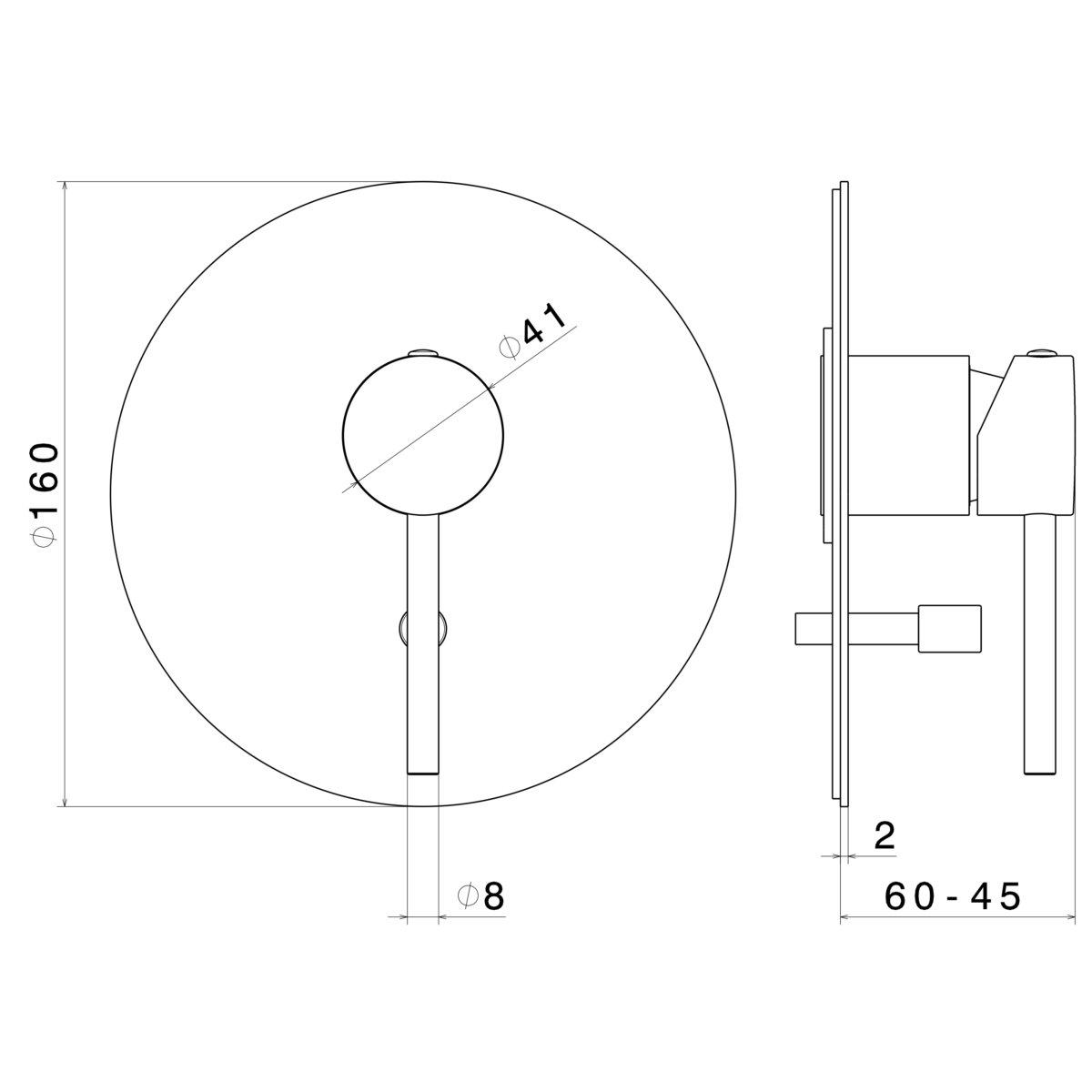 4270E.01.093 Newform XT Mini X Black Diverter Mixer_Stiles_TechDrawing_Image