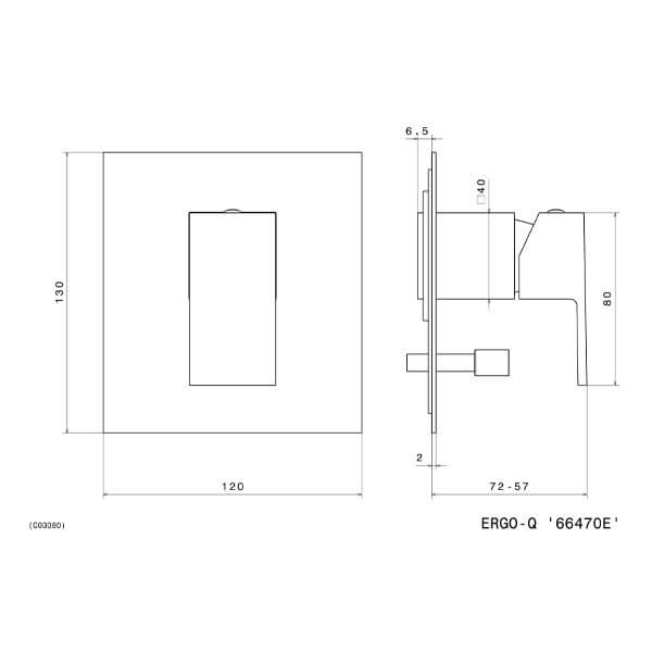 Newform Ergo Q 66470E Newform black diverter mixer_Stiles_TechDrawing_Image