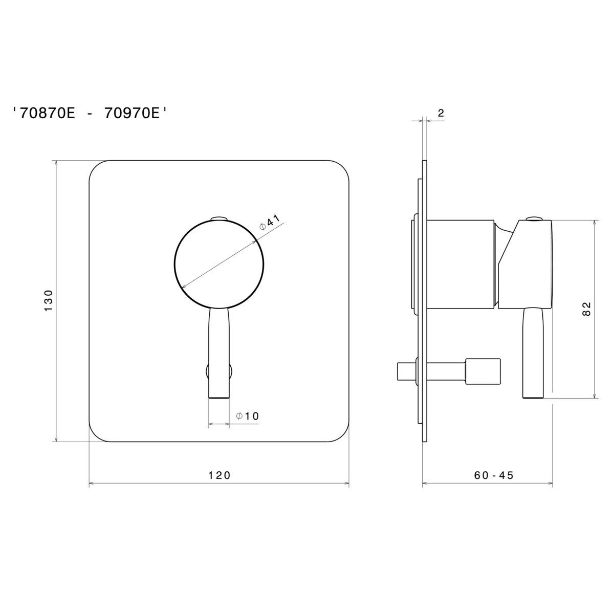 70870 Newform Blink Diverter Mixer_Stiles_TechDrawing_Image