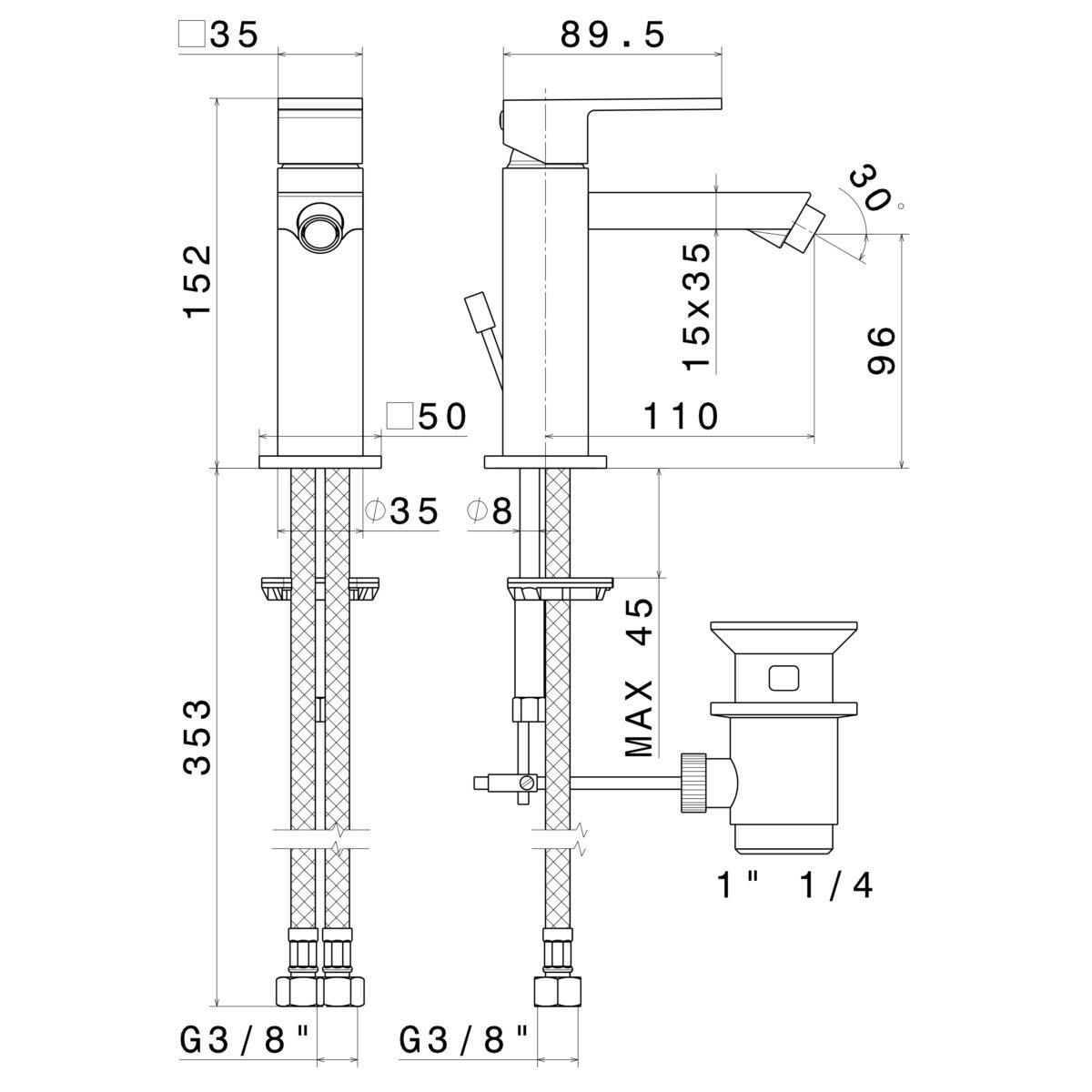66425 Newform Ergo Q Bidet Mixer_Stiles_TechDrawing_Image