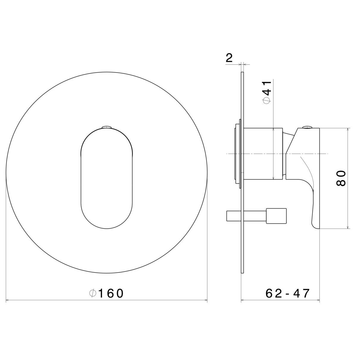 69470 Newform LINFA ii Diverter Mixer_Stiles_TechDrawing_Image