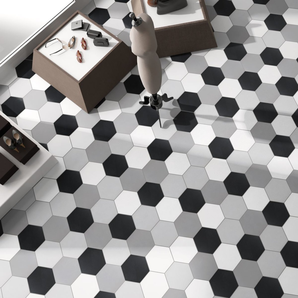 Codicer Hexagon Basic Black Porcelain 220x250mm_Stiles_Lifestyle_Image