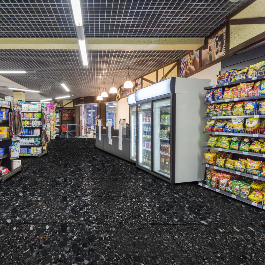 Interior of the supermarket Mirs. Grocery Store.