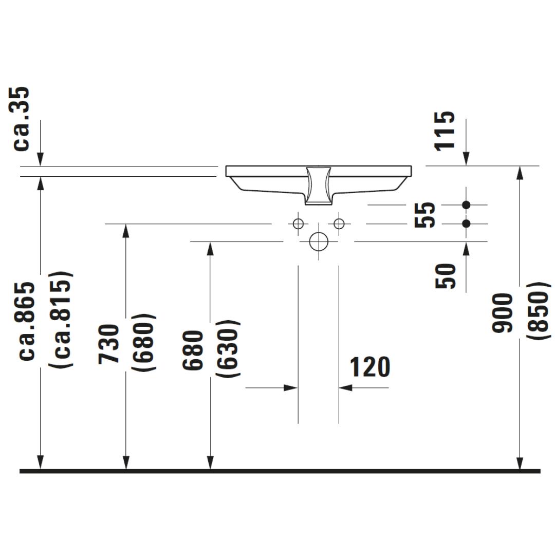 D 2nd Floor Undercounter Basin 525x350mm_Stiles_TechDrawing_Image2