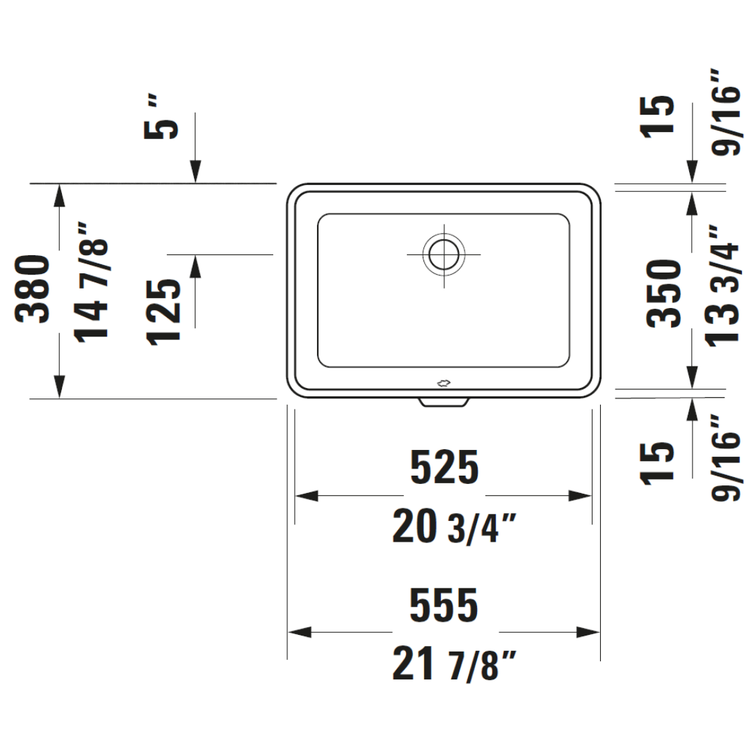 D 2nd Floor Undercounter Basin 525x350mm_Stiles_TechDrawing_Image3