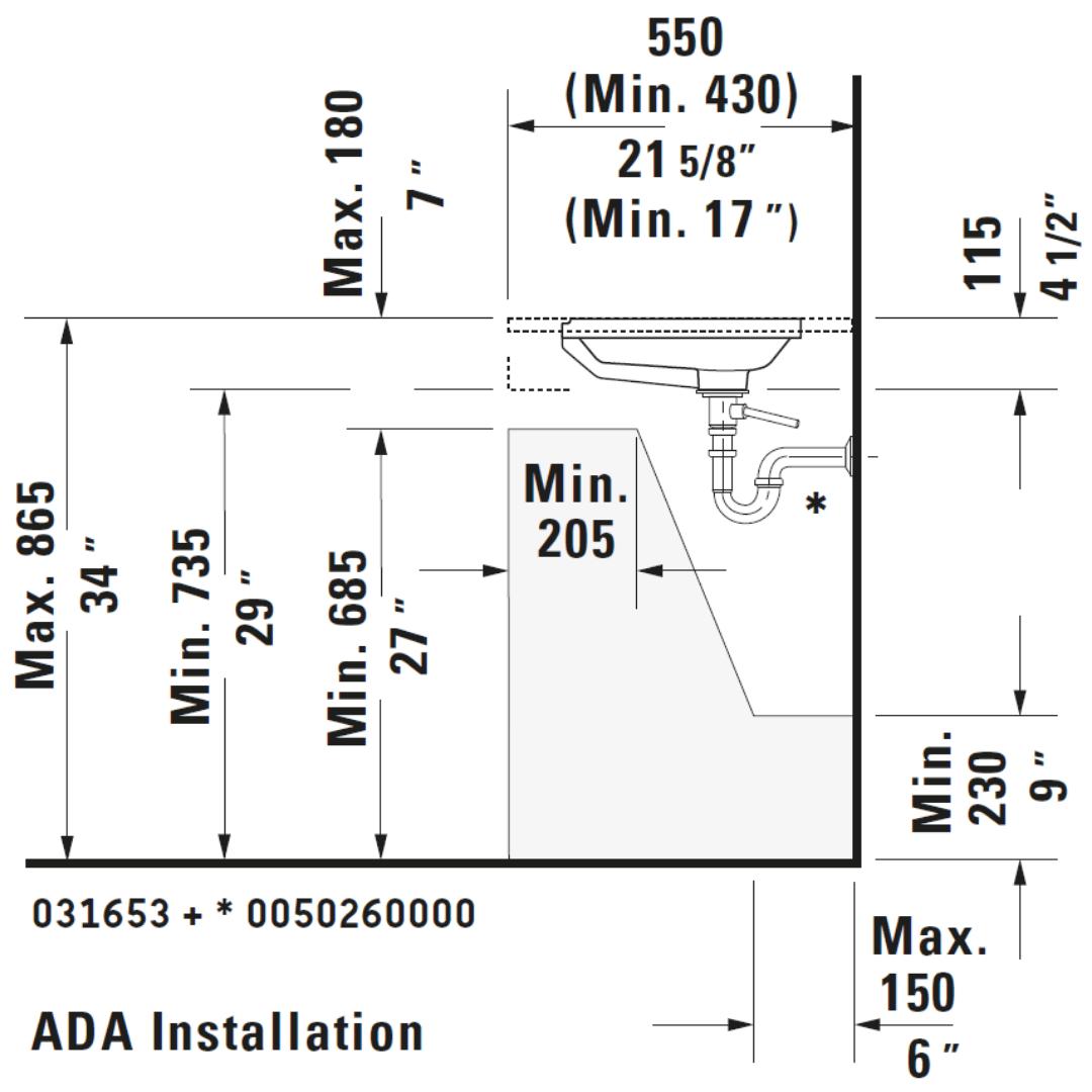 D 2nd Floor Undercounter Basin 525x350mm_Stiles_TechDrawing_Image5