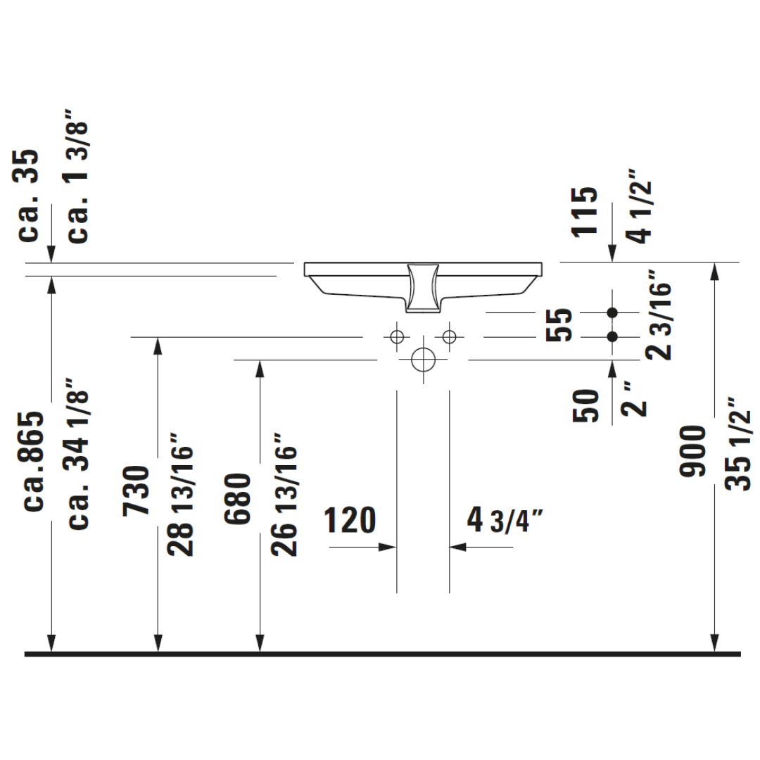 D 2nd Floor Undercounter Basin 525x350mm_Stiles_TechDrawing_Image6