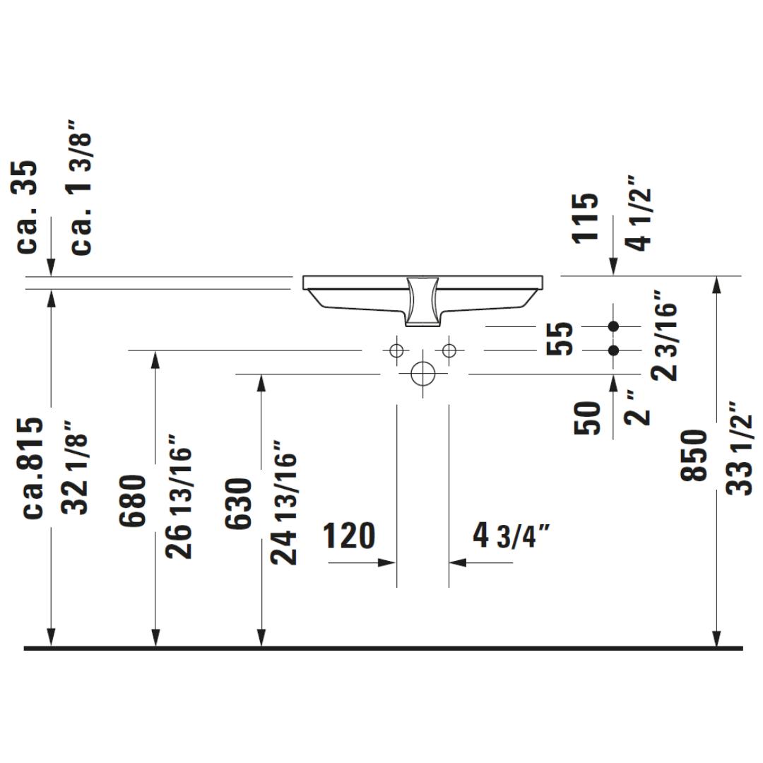 D 2nd Floor Undercounter Basin 525x350mm_Stiles_TechDrawing_Image8