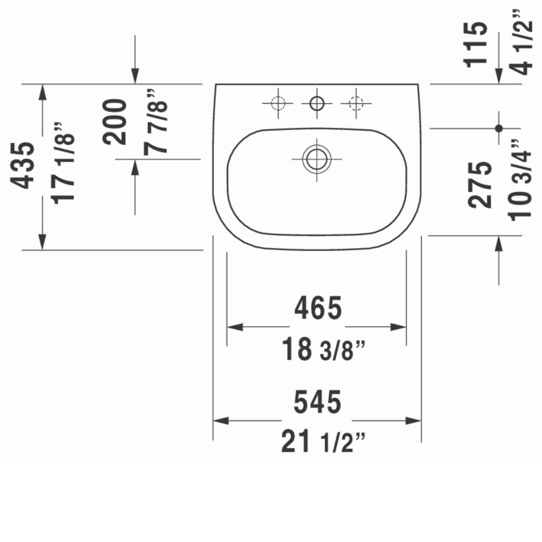D D-code Drop in Basin 545x435mm_Stiles_TechDrawing_Image