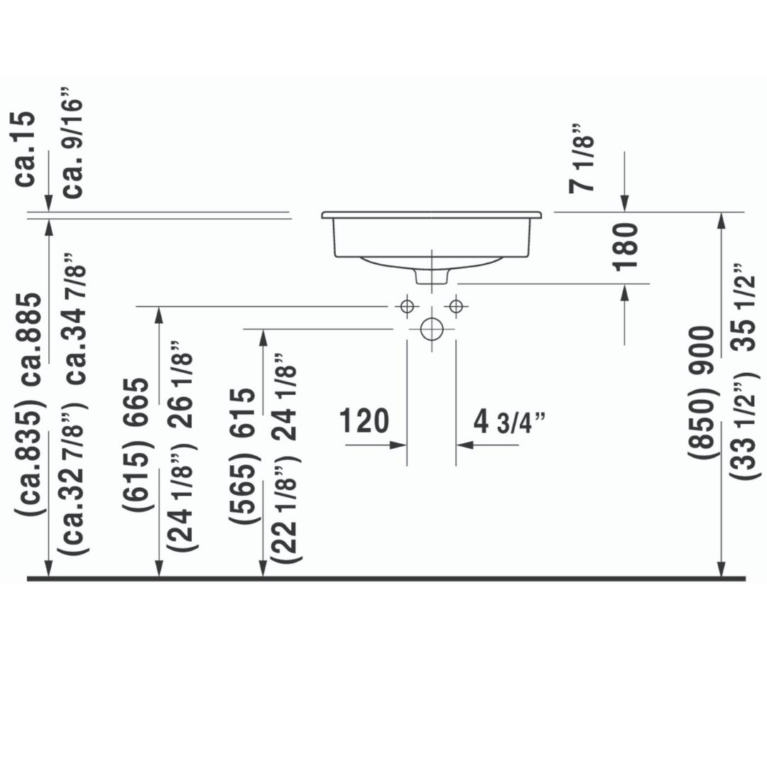 D D-code Drop in Basin 545x435mm_Stiles_TechDrawing_Image2