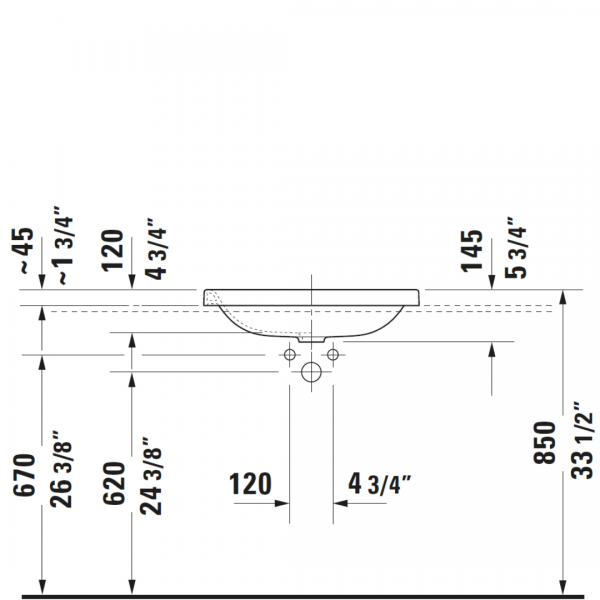 D DuraStyle Drop-in Basin 600x430mm_Stiles_TechDrawing_Image