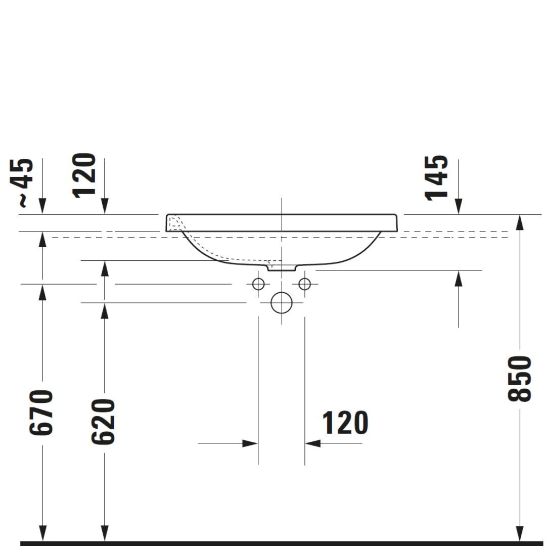 D DuraStyle Drop-in Basin 600x430mm_Stiles_TechDrawing_Image2