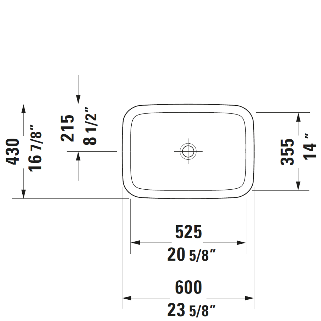 D DuraStyle Drop-in Basin 600x430mm_Stiles_TechDrawing_Image3