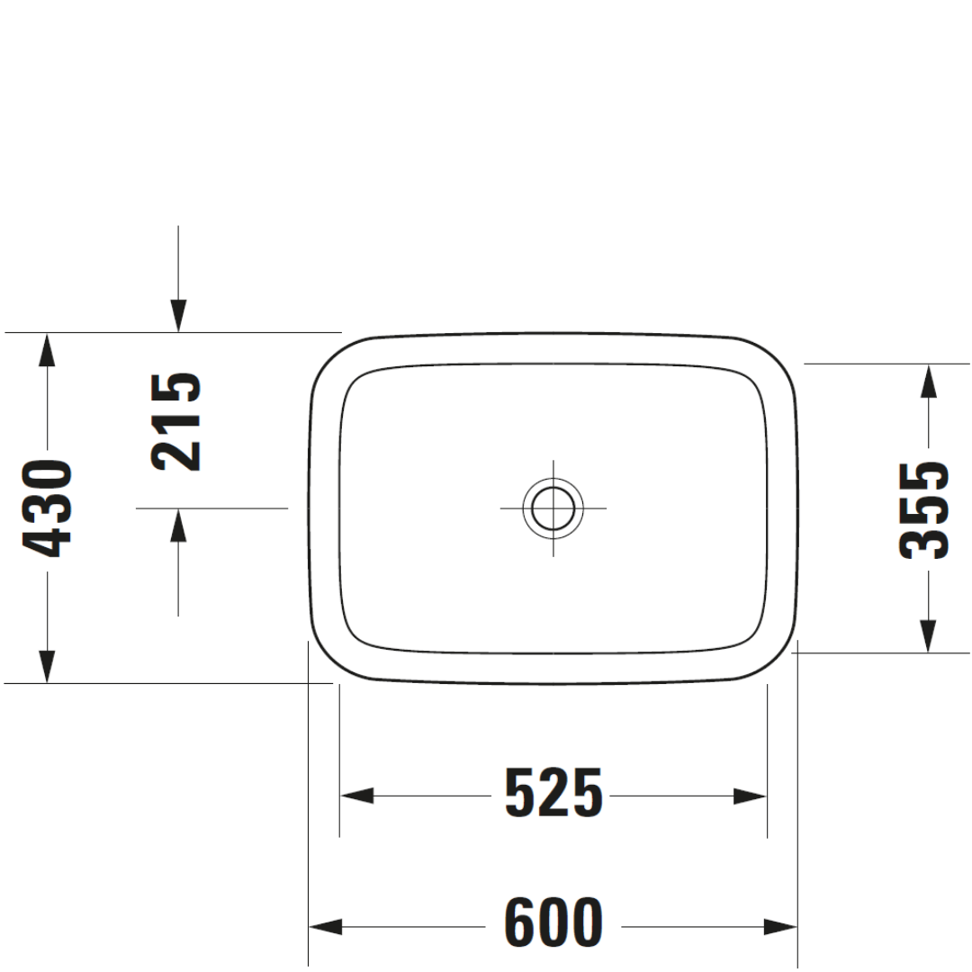 D DuraStyle Drop-in Basin 600x430mm_Stiles_TechDrawing_Image4