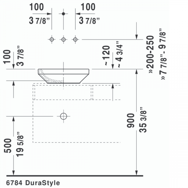 D DuraStyle Grounded Counter Top Basin 430x430mm_Stiles_TechDrawing_Image