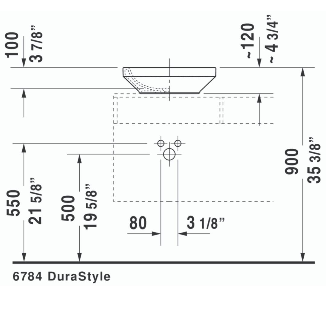 D DuraStyle Grounded Counter Top Basin 430x430mm_Stiles_TechDrawing_Image2