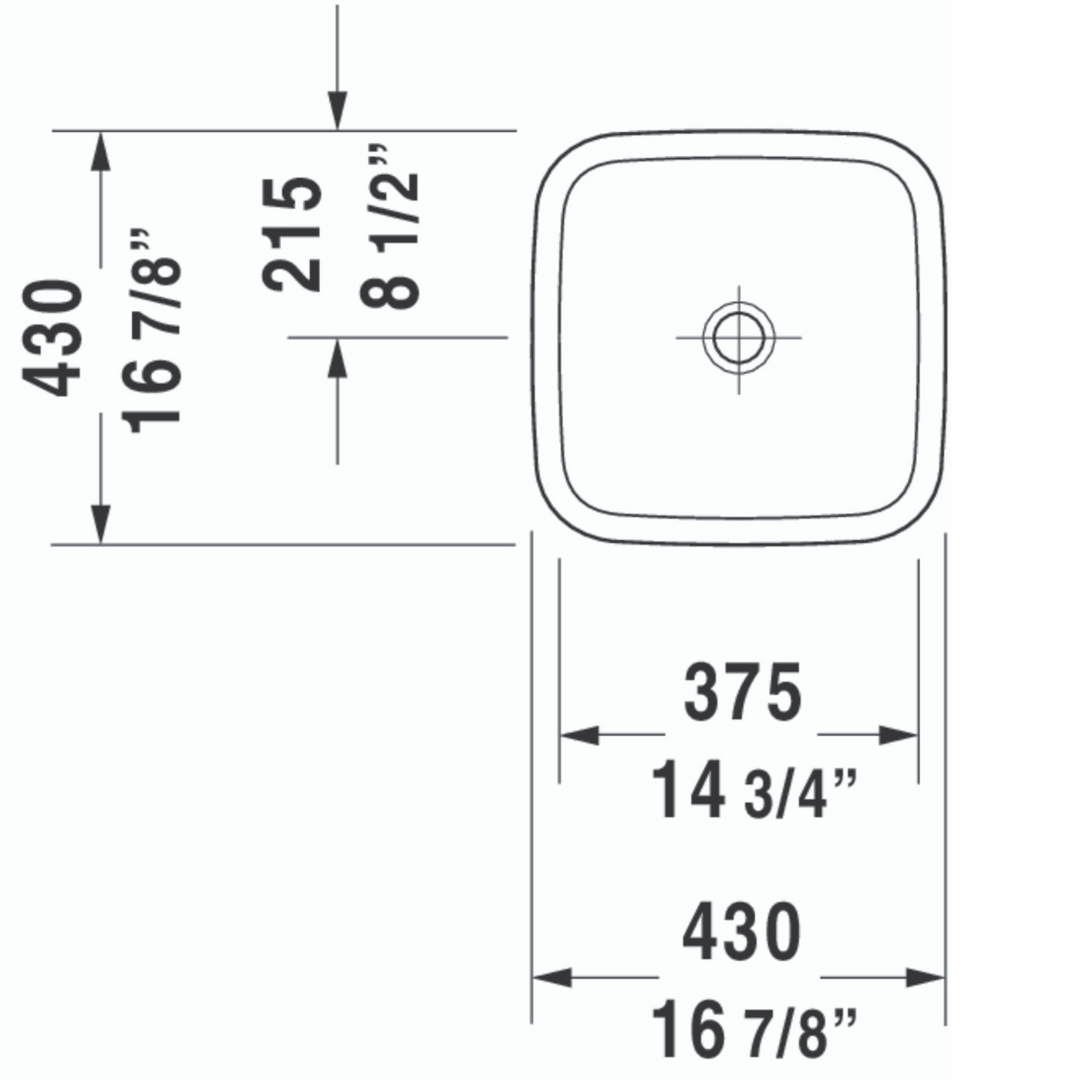 D DuraStyle Grounded Counter Top Basin 430x430mm_Stiles_TechDrawing_Image3