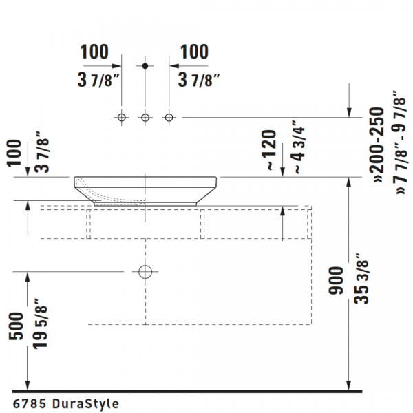 D DuraStyle Grounded Counter Top Basin 600x380mm_Stiles_TechDrawing_Image