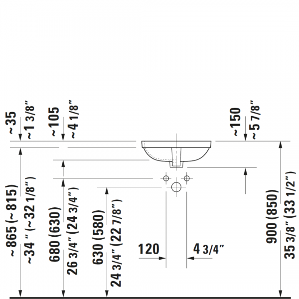 D DuraStyle Undercounter Basin 370x370mm_Stiles_TechDrawing_Image