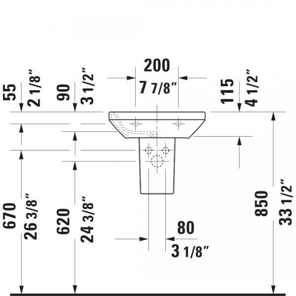 D DuraStyle WM Basin 450x335mm_Stiles_TechDrawing_Image