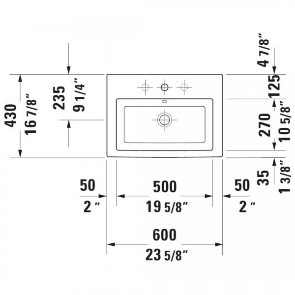 Duravit 2nd Floor Drop-in Basin 600x430mm_Stiles_TechDrawing_Image3