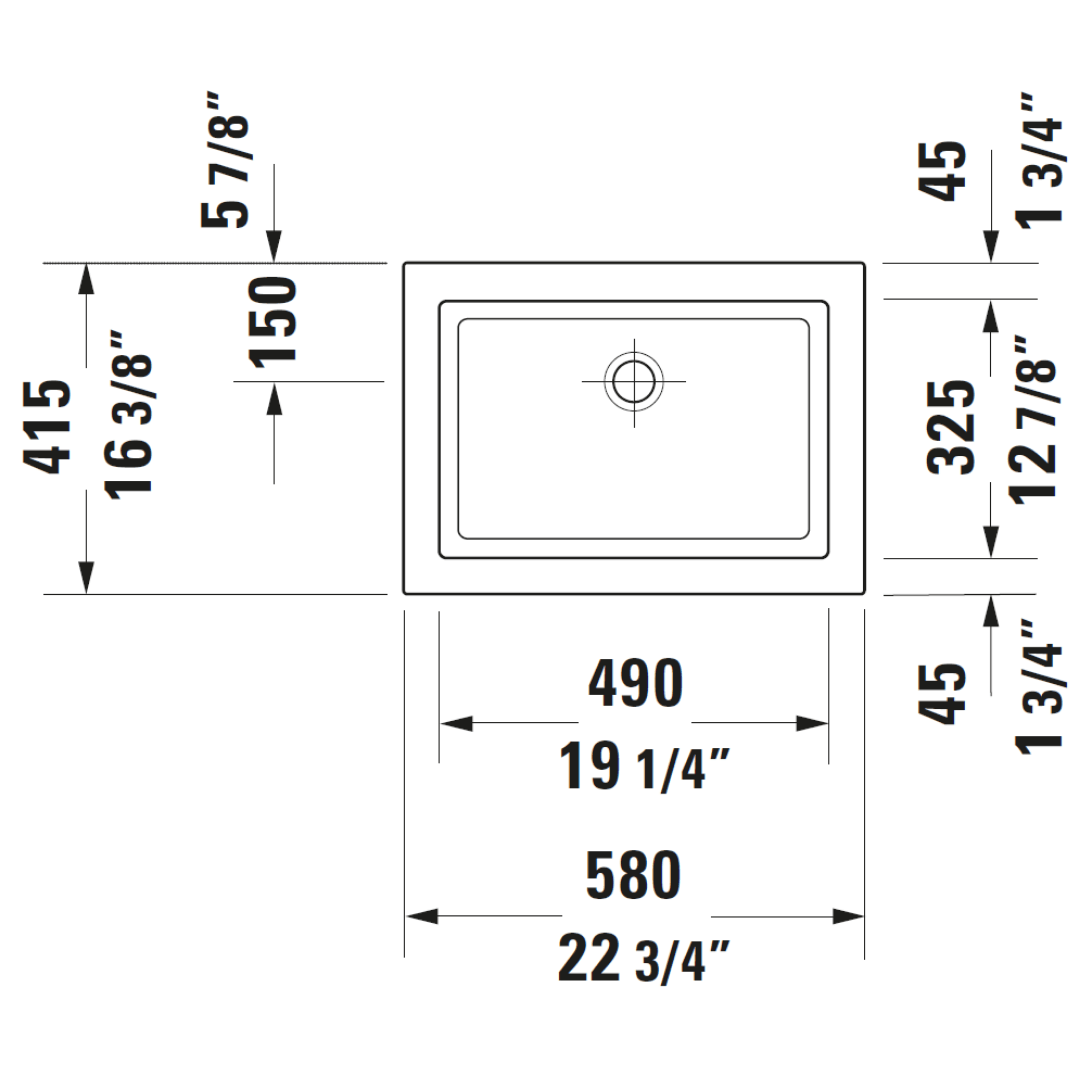 Duravit 2nd Floor Grounded Drop-in Basin 580x415mm_Stiles_TechDrawing_Image6