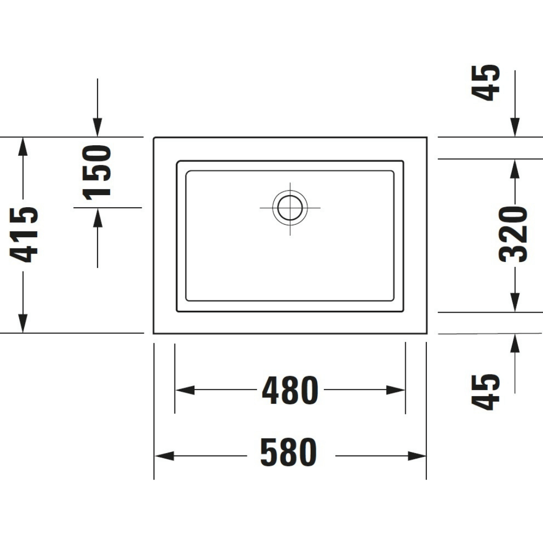 Duravit 2nd floor Grounded Counter Top Basin 580x415mm_Stiles_TechDrawing_Image1