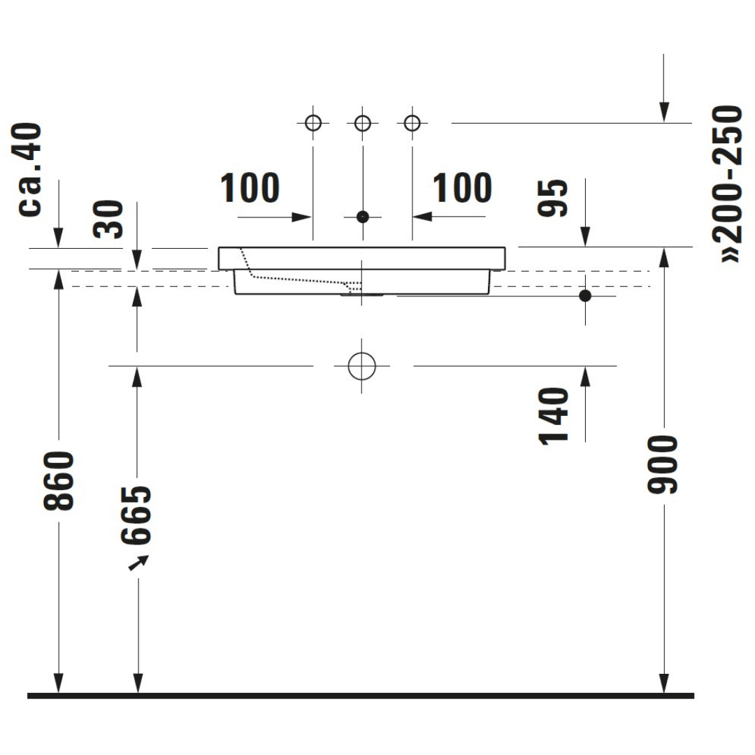 Duravit 2nd floor Grounded Counter Top Basin 580x415mm_Stiles_TechDrawing_Image4
