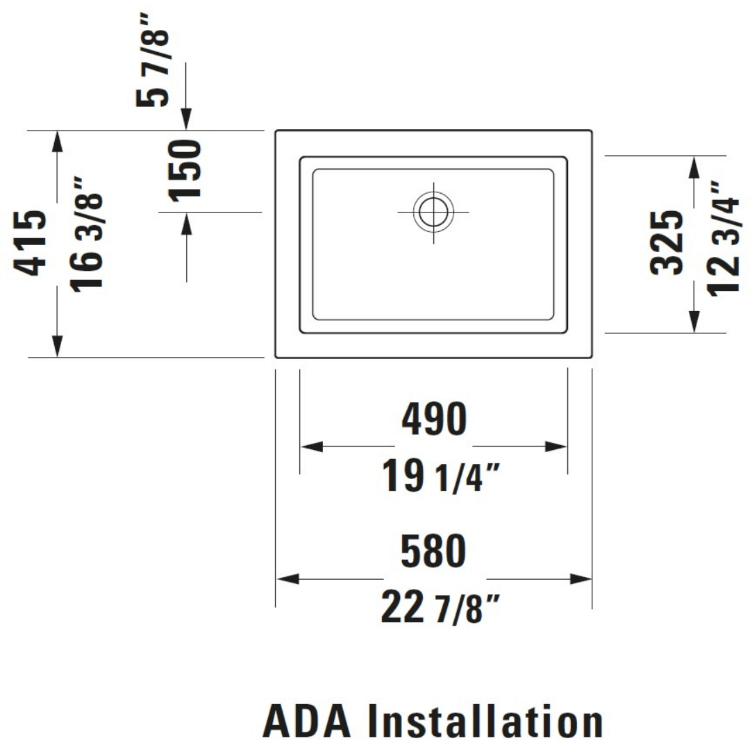 Duravit 2nd floor Grounded Counter Top Basin 580x415mm_Stiles_TechDrawing_Image7