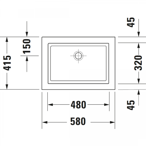 Duravit 2nd floor Grounded Drop-in Basin 580x415mm_Stiles_TechDrawing_Image