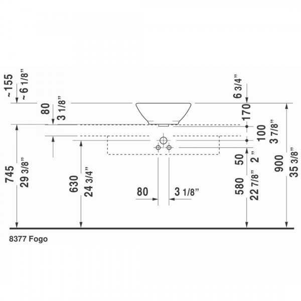 Duravit Bacino Round Grounded Counter Top Basin 420x420mm_Stiles_TechDrawing_Image