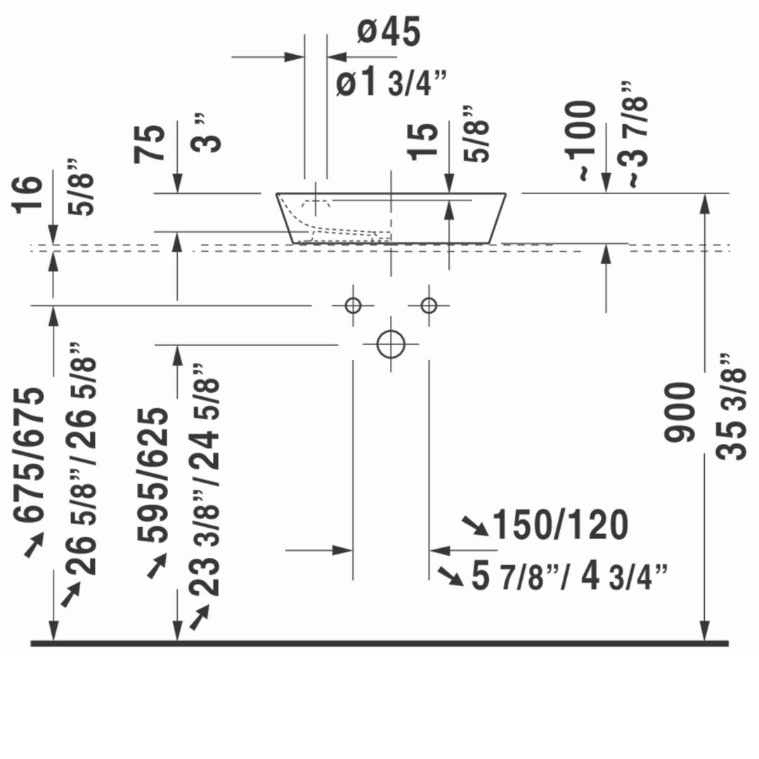Duravit Cape Cod Basin 460x460mm_Stiles_TechDrawing_Image