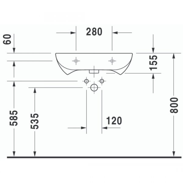 Duravit D-Code Barrier Free Basin 600x550mm_Stiles_TechDrawing_Image1