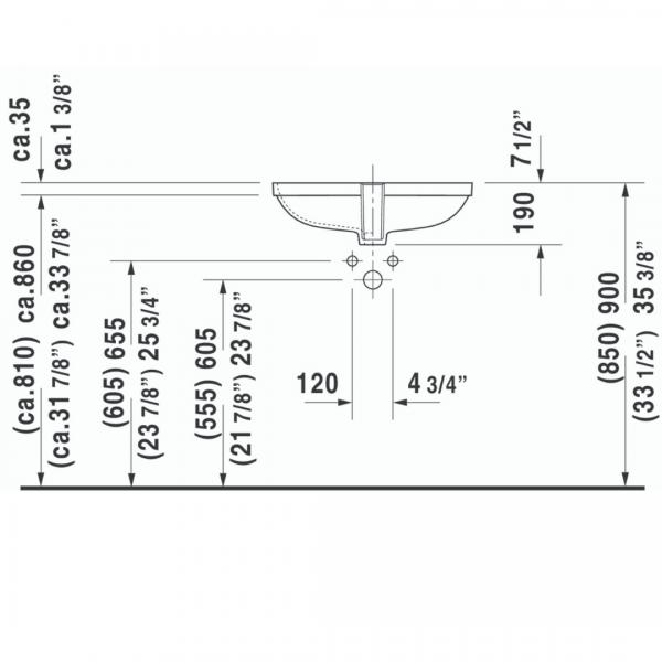 Duravit D-Code Undercounter Basin 560x400mm_Stiles_TechDrawing_Image