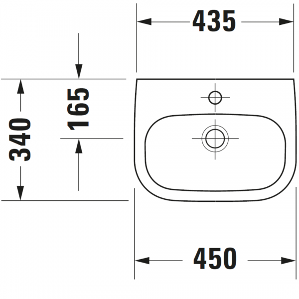 Duravit D-code Barrier Free Basin 450x340mm_Stiles_TechDrawing_Image