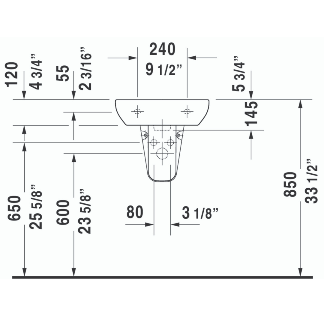 Duravit D-code Basin 450x340mm_Stiles_TechDrawing_Image1