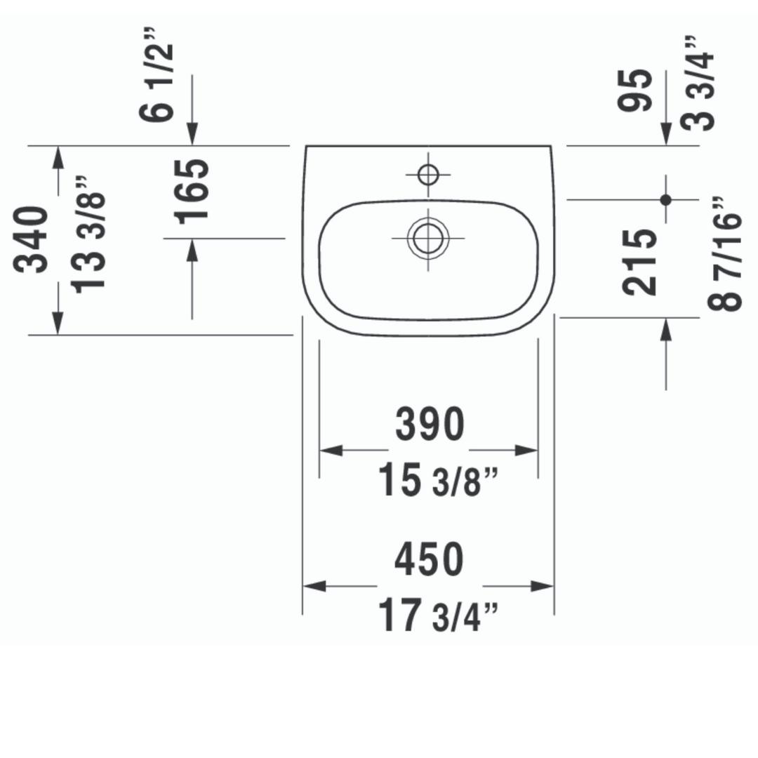 Duravit D-code Basin 450x340mm_Stiles_TechDrawing_Image2