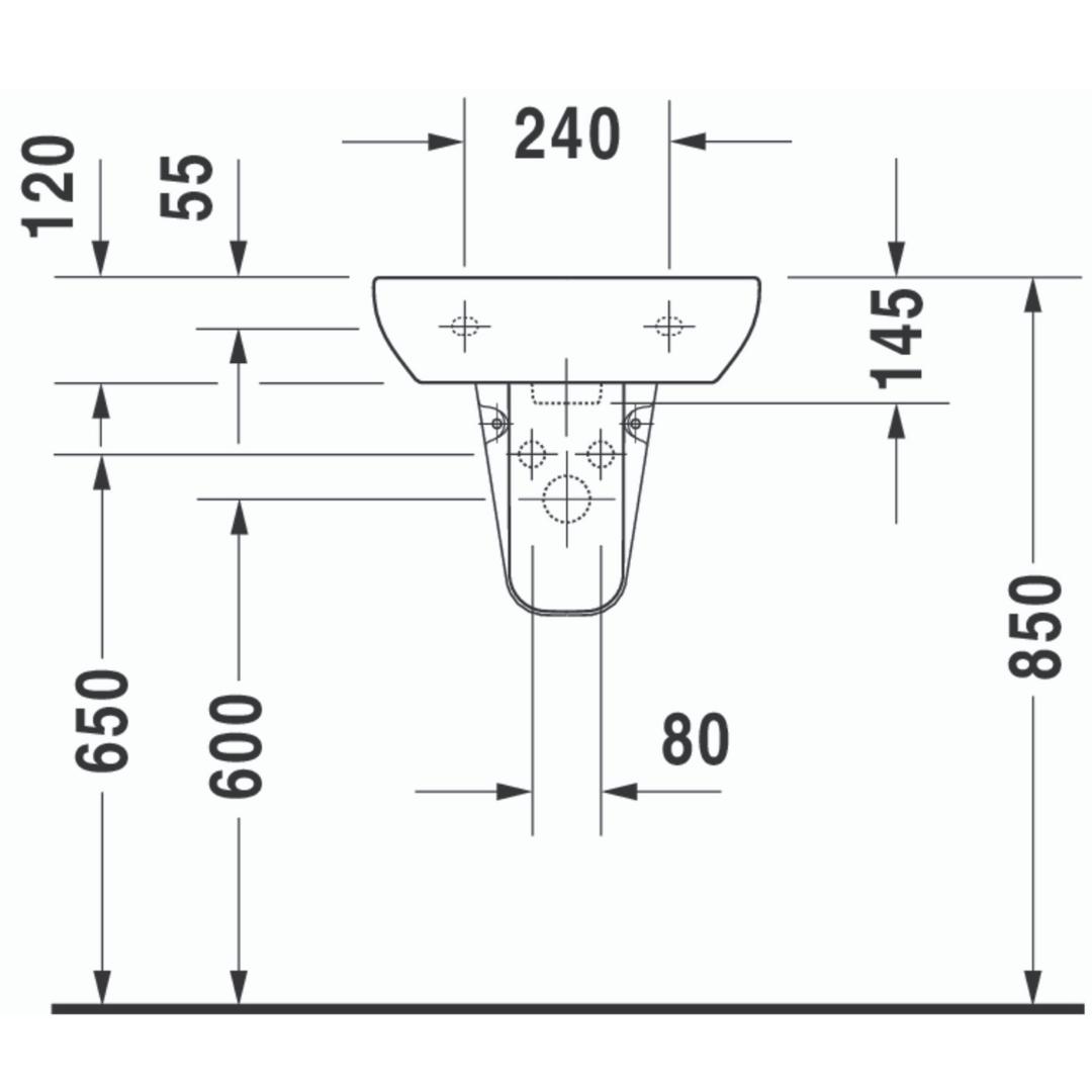 Duravit D-code Basin 450x340mm_Stiles_TechDrawing_Image3