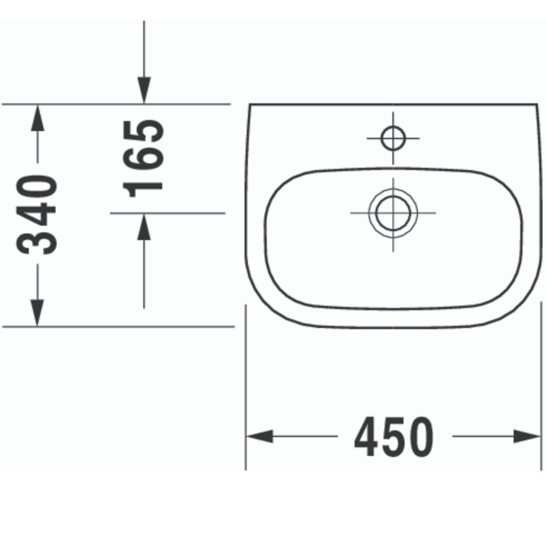 Duravit D-code Basin 450x340mm_Stiles_TechDrawing_Image4