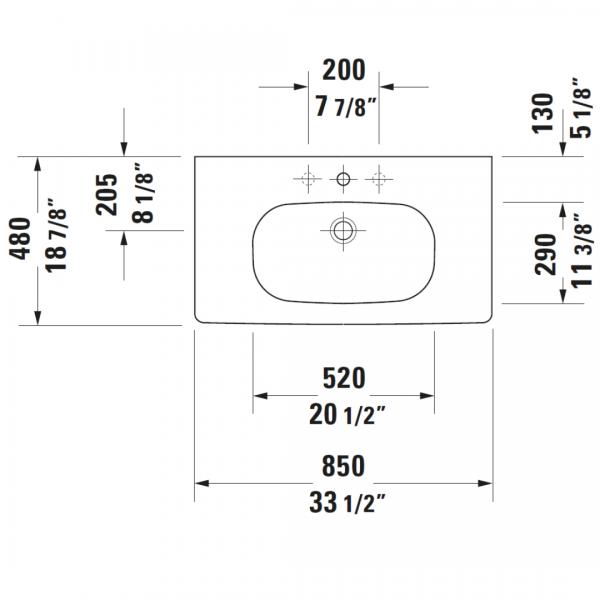Duravit D-code Basin 850x480mm_Stiles_TechDrawing_Image1