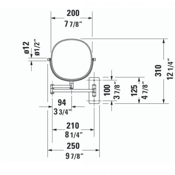 Duravit D-code Cosmetic mirror 3x magnify 232x317mm_Stiles_TechDrawing_Image