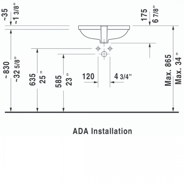 Duravit D-code Undercounter Basin 495x290mm_Stiles_TechDrawing_Image