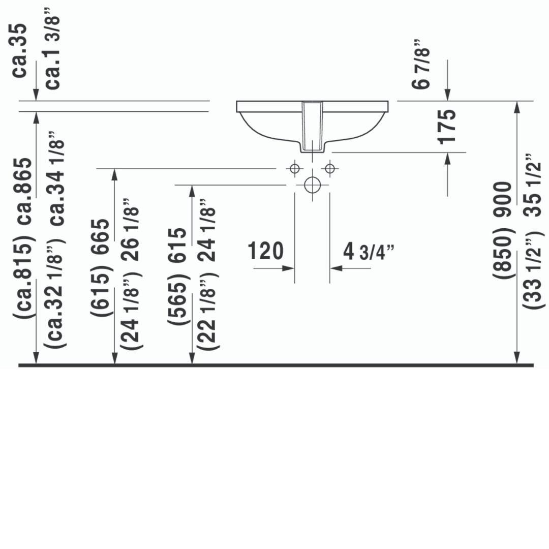 Duravit D-code Undercounter Basin 495x290mm_Stiles_TechDrawing_Image2