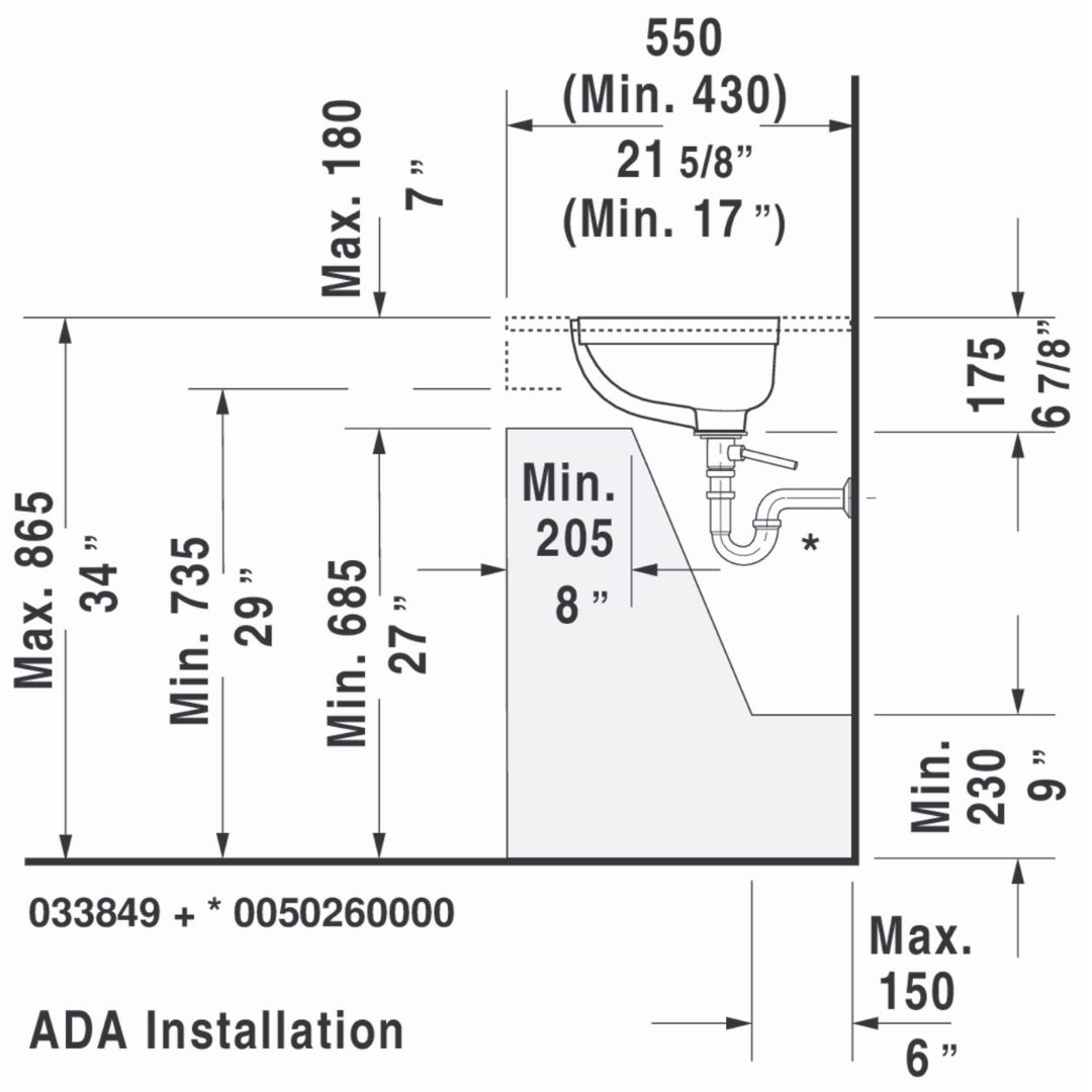Duravit D-code Undercounter Basin 495x290mm_Stiles_TechDrawing_Image3