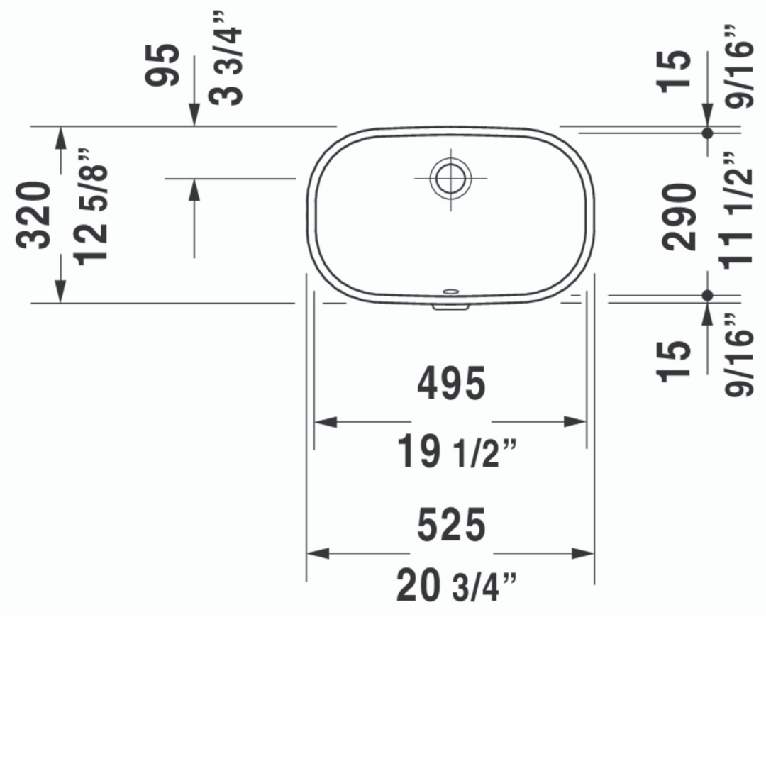 Duravit D-code Undercounter Basin 495x290mm_Stiles_TechDrawing_Image5