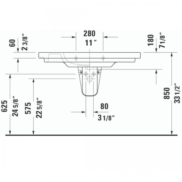 Duravit D-code WM Basin 1050x480mm_Stiles_TechDrawing_Image1