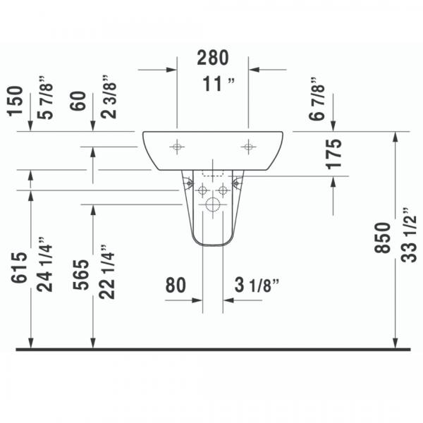 Duravit D-code WM Basin 550x430mm_Stiles_TechDrawing_Image