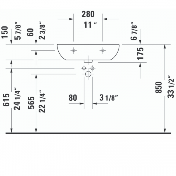 Duravit D-code WM Basin 600x460mm_Stiles_TechDrawing_Image