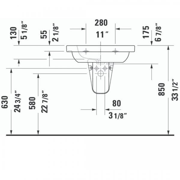 Duravit D-code WM Basin 650x480mm_Stiles_TechDrawing_Image